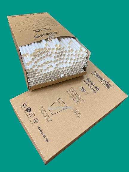 hộp 200 ống hút giấy màu trắng
