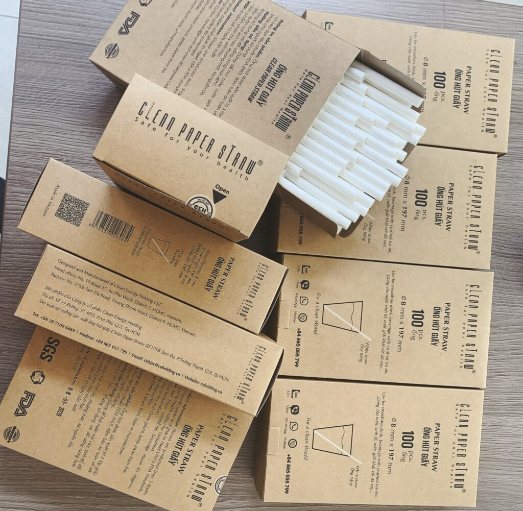 hộp 100 ống hút giấy màu trắng 8mm x 197mm