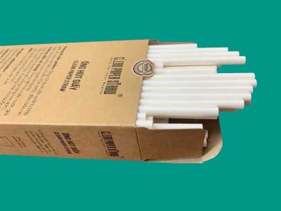 hộp 100 ống hút giấy màu trắng